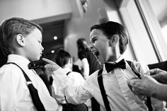 Tempers flare when one ring bearer tries to cut in front of another in the flower pinning line!