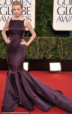 Single girl: Taylor Swift at the Golden Globe Awards in LA on Sunday