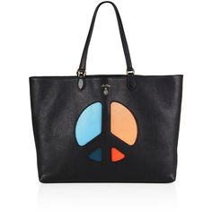 Mark Cross Villa Leather Peace Sign Tote ($1,395) ❤ liked on Polyvore featuring bags, handbags, tote bags, apparel & accessories, leather tote, genuine leather tote bag, leather handbags, genuine leather handbags and handbag purse