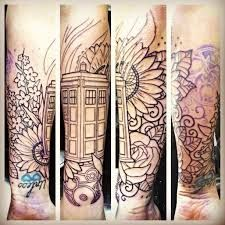 tardis tattoo flowers sleeve