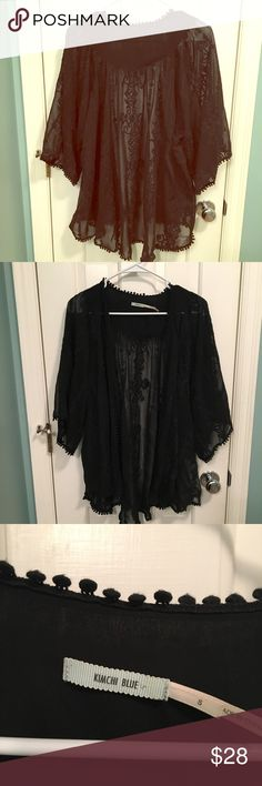 Black embroidered Kimono Size small, fits anywhere from xs-xl, never worn, comes from smoke-free home Urban Outfitters Tops Blouses
