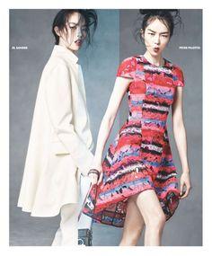 "Ginta Lapina & Fei Fei Sun Star in Neiman Marcus ""Art of Fashion"" Spring 2014 Ads/ Jil Sander & Peter Pilotto"