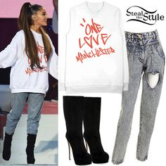Ariana Grande performed wearing a One Love Manchester Graffiti Crew Neck (£40.00 – Net proceeds of the sale of all One Love Manchester Merchandise will be donated to the British Red Cross Society), FIG&VIPER Cut-Out Denim Pants (Not available online) and Giuseppe Zanotti Suede Platform Boots (Not available online). You can find similar boots for less at GoJane ($28.14).