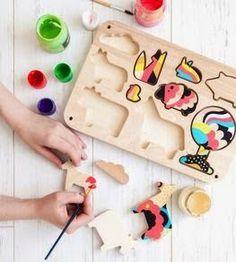 wooden farm puzzle. unpainted. Farm toy set by Raw Design Studio, via Depst…