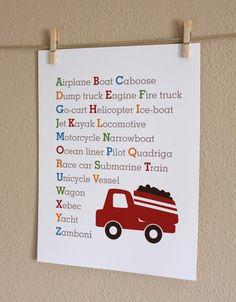 Baby Boy Nursery Art, Transportation Alphabet with Truck, 8x10, Unframed