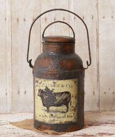 New Primitive Country Farmhouse Rusty GRUNGY MILK CAN Bucket Cow Advertisement