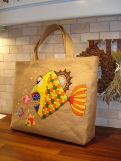 SEA WORLD -Burlap Tote handbag/hand applique by Apopsis
