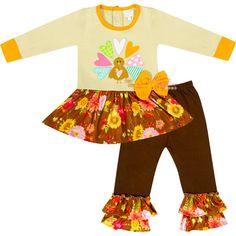 Baby Toddler Little Girl Thanksgiving Gobble Turkey Skirted Top Pant Set - Brown - 18 - 24 Months