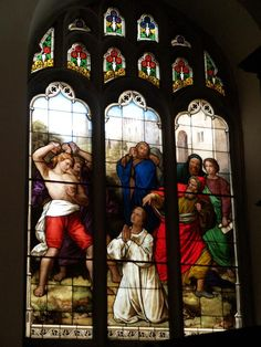 Description: Cambridge, England: Peterhouse: chapel stained glass window, stoning of St Stephen (1850s, overall design by Max Emanuel Ainmiller, figures largely work of Claudius Schraudolph and Heinrich von Hess, Royal School of Glass Painting, Munich)