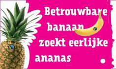 Kaartje voor aan banaan ter promotie van ananas - Fairtrade gemeenten