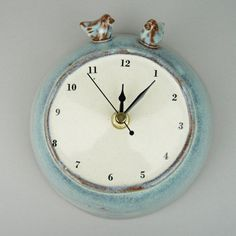 Large Ceramic Wall Clock with Two Birds by JuliaSmithCeramics, £40.00