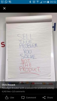 Sell solution not product