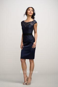 navy blue lace boat neck cap sleeve sheath above knee length bridesmaid dress