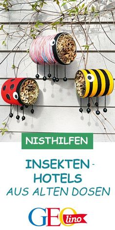 Bunte Nisthilfen: Wir bauen Insekten-Dosen We take old canned food and use it to build insect hotels! The instructions are on GEOLINO. Diy Outdoor Furniture, Diy Furniture, Diy For Kids, Crafts For Kids, Bug Hotel, Upcycle, About Me Blog, Canning, Creative