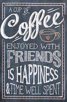 'Coffee Enjoyed With Friends' Wall Sign