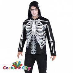 Adult Mens Black & Bones Skeleton Hoodie Halloween Fancy Dress Costume Accessory in Clothes, Shoes & Accessories, Fancy Dress & Period Costume, Accessories | eBay