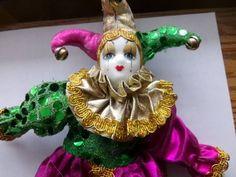 Porcelain Jester Clown Doll, Vintage Mardi Gras doll, Clown Doll, Porcelain Harlequin Doll by Morethebuckles on Etsy