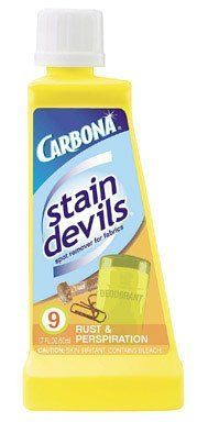 Carbona 403/24 STAIN DEVILS #9 REMOVER by Carbona. Save 91 Off!. $2.74. Carbona Stain Devils Stain Devils remove virtually every stain imaginable from washable and dry clean only fabrics, excluding silk, acetate, carpeting, leather, suede, and upholstery. Stain Devil Formula #9 removes: Removes Deodorant, Perspiration, Rust from fabrics and hard surfaces.