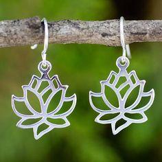 Sterling silver dangle earrings, 'Shining Lotus' - Sterling Silver Artisan Crafted Floral Lotus Earrings