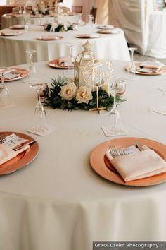 Wedding table setting ideas - white, orange, pink, plates, roses, lantern {Grace Dreim Photography} Wedding Place Settings, Wedding Decorations, Table Decorations, Real Weddings, Lanterns, Wedding Photos, Plates, Inspiration, Ideas