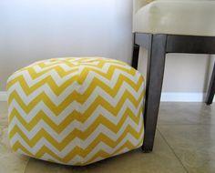 """18"""" Ottoman Pouf Floor Pillow Yellow Chevron Zig Zag $70 #pouf #ottoman"""