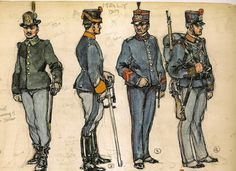 Italy 1905-1914 1 .- Soldier Mountain Light Infantry, service. 2 .- Sergeant of the 10th Regiment of Lancers, service uniform. 3 .- Cape of Engineers, uniform stop. 4 .- Soldier of the 90th Infantry Regiment.