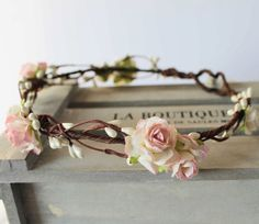Pale Pink and Ivory Rose and Pearl Pip Berry Floral Crown Halo Flower Girl Bridesmaid Garland Boho Wedding