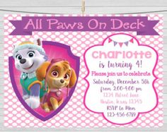 Paw Patrol Girls Birthday Party Invitation