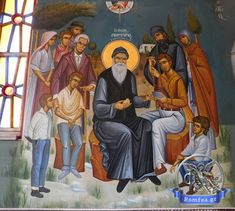 """Porphyrios preaching to his disciples and pilgrims: """"Christ is everything"""", fresco in the chapel of the Saint, St. Pilgrims, Fresco, Christianity, Saints, Adventure, Painting, Art, Art Background, Fresh"""