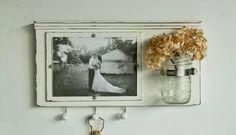 Shabby Chic White Wood Picture Frame...Key Organizer....Mason Jar Shelf..