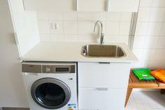 Faucet: Oras Cubista with a smart valve for a washing machine Oras, Washing Machine, Faucet, Laundry, Home Appliances, Bathroom, Laundry Room, House Appliances, Washroom