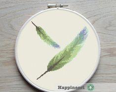 modern cross stitch pattern, feather, PDF ** instant download**