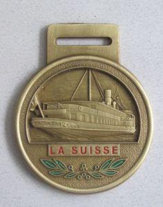 La Suisse, barco del Lago Léman o Ginebra, Suiza, medalla del Maratón de Lausana de 2010