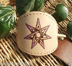 Faerie Star LEATHER HAIR BARRETTE Fae Slide/Grip/Pin/Clip/Tie PAGAN Elven Luck