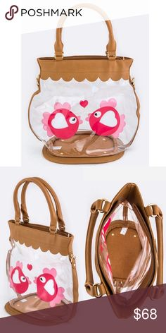 """Unique GIFT  Goldfish Bowl Design Handbag Length 14"""" Width 8.5"""" Height 12.5/19.5"""" with handle All measurements are approximate Zip closure, extra shoulder strap Vegan materials Bags Totes"""