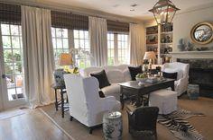 Window treatments  Joni Webb's family room, Cote de Texas