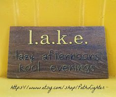 Reclaimed wood art sign original hand painted. Rustic style is ideal for country, lake, beach, or cabin decor. $39.95 https://www.etsy.com/listing/209249733/rustic-wood-sign-lake?ref=shop_home_active_1
