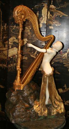 """Louis CHALON 1866-1940 """"jeune harpiste"""" sculpture en bronze et marbre blanc"""