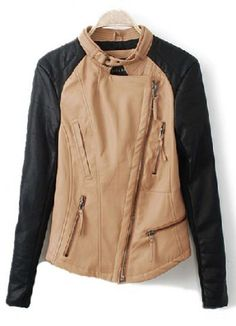 Camel Contrast PU Leather Long Sleeve Zipper Coat  on shechic.com, Free shipping to worldwide