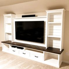 Custom entertainment center for a tv. Custom Entertainment Center, Living Room Entertainment Center, Entertainment Center Wall Unit, Entertainment Products, Built In Tv Wall Unit, Tv Wall Units, Bedroom Wall Units, Bedroom Tv, Tv Units