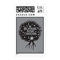 Nightmare Before Christmas Holiday Wreath Postage - christmas stamps custom merry xmas postage diy customize