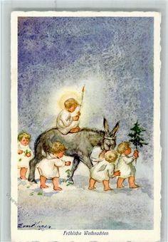 Verlag Henke - Weihnachten - Engel mit einem Esel