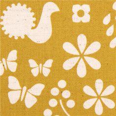 yellow canvas flower bird garden fabric Kokka Japan Garden 1