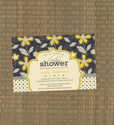 Printable Baby Shower Invitation - Baby Boy Shower Invitation - Navy Blue and Yellow - Shower invitation. $15.00, via Etsy.