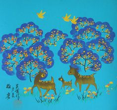 Chinese folk art paintings - Spotted Deers