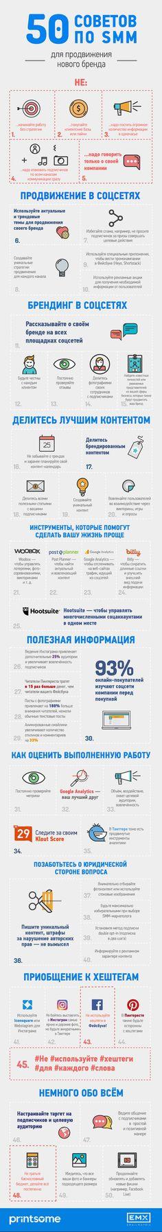 50 исчерпывающих советов по SMM в одной инфографике! #EMAILMATRIX #EMX #emailmarketing #infographic