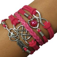 Hot Pink Infinity X Infinity Arm Party Bracelet - $14.00