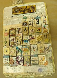 they are called perpetual calendars and they are amazing. sold at a local art store here, they are made on cookie sheets, all days are attached with magnets and are made of matchstick boxes to hide secrets gifts. stored on the back (technically front) of the cookie sheet are all the months that can be replaced on front