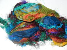 Recycled Sari Silk Dupioni Ribbon Yarn Lustre3.5 oz by jcraft4you