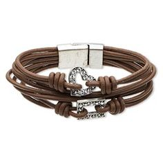 """Bracelet, 8-strand, Swarovski crystal / leather (dyed) / antiqued silver-finished """"pewter"""" (zinc-based alloy), brown and crystal clear, 21mm wide with heart and rectangle, 7-1/2 inches with magnetic clasp. Sold individually."""